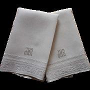 1920s Towels Monogram J M R Vintage Linen Italian Hand Embroidery