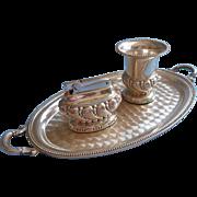 SALE PENDING Set Ronson Lighter Tray Cigarette Urn Vintage Silver Crown Unused Labels