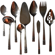 Carlyle Cameo Vintage Stainless Steel Flatware Set 9 Serving Pieces