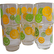 Happy Face Vintage Stacking Glass Tumblers Libbey Set 6