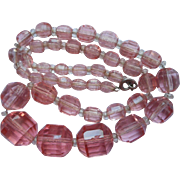 SOLD Czech Pink Cut Crystal Beads Necklace Vintage Glass 1930s
