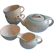 Art Deco Vintage 1937 Tea Set Vintage China Teapot Burleigh Balmoral Green Dots