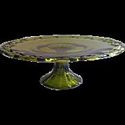 Huge Vintage Cake Pedestal Stand Olive Green Glass Lattice Rim
