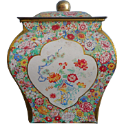 Vintage English Candy Toffee Tin Pretty Shape Floral Shabby Charm