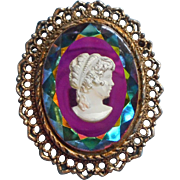 Vintage Iridescent Glass Intaglio Cameo Brooch Pin Pendant