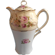Chocolate Pot Antique China Pink Roses Gold Cream White