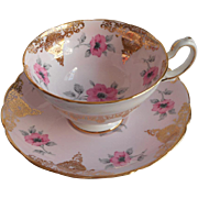 Pink Gold Roses Teacup Saucer Vintage English Bone China