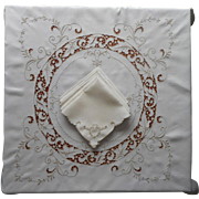 SOLD Madeira Set Luncheon Tablecloth 6 Napkins Cutwork Vintage Embroidery Slightly TLC
