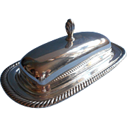 Silver Butter Dish Glass Insert Vintage W. Rogers International Rope Twist Rim