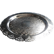 Silver Tray Vintage Lacy Pierced Rim Serving Shabby Elegant