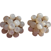 SOLD Vintage Mother Of Pearl Cluster Vogue Earrings