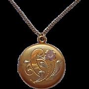 Tri Color Gold Filled Locket On Chain Vintage Necklace Petite