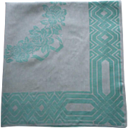Art Deco Tablecloth Vintage Aqua Linen Damask Square Roses