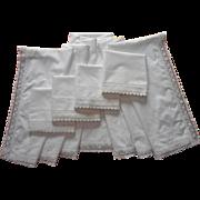 1920s Italian Wedding Sheet Set 4 Pillowcases Simple Lace All Cotton