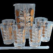 Unused 1950s MCM Glass Cocktail Set Glasses Pitcher Stirrer Vintage Custom A.E.E. Glass