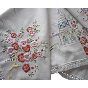 1920s Hand Embroidered Tea Tablecloth Cherry Blossoms Pagodas
