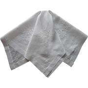 1920s Hand Embroidered Tea Tablecloth Rice Linen TLC