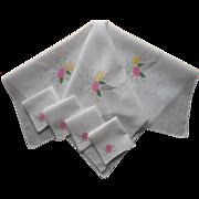 1920s Tea Tablecloth Napkins Set Appliqued Hand Embroidered Cotton