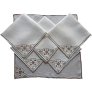 1920s Italian Work Napkins Vintage Linen Ecru Hand Embroidery Set 6 Luncheon