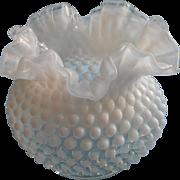 Fenton French Opalescent Hobnail Glass Vase Ruffled Crimped Rim