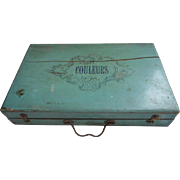 Antique French Childs Paint Set Box Accessories Turquoise Painted