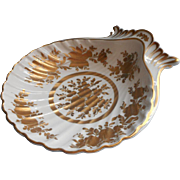 French Gold White Hand Painted China Shell Dish Bowl Vintage Midcentury