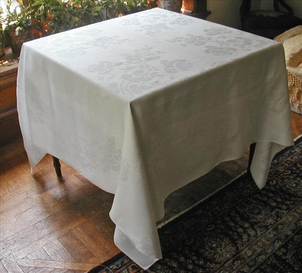 Square Antique Linen Damask Tablecloth Roses 72 x 69