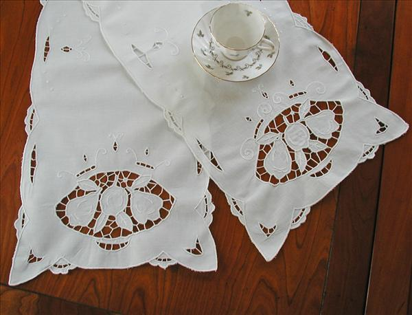 Cutwork Embroidery Fruit Runners Pair 1920s White Cotton