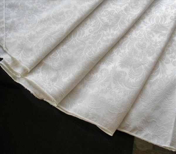Round Tablecloth Ivory Damask Weave Easy Care