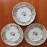 3 Nippon China Dresden Flowers Bread Plates Pierced Vintage Hand Painted
