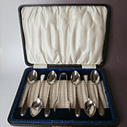 Silver Coffee Spoons Sugar Tongs Set Original Box Vintage After Dinner Coffee