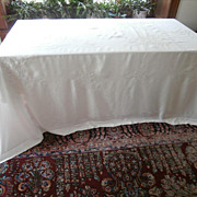 SOLD Antique French Linen Tablecloth Big Hand Embroidered Bows Flowers
