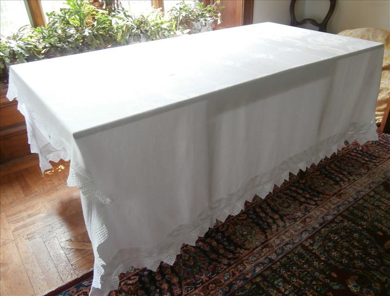 Antique French Tablecloth Heavy Informal Damask Crocheted Lace