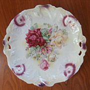 Ornate Molding Roses Serving Plate China Antique