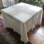 SOLD Antique French Tablecloth Square Crocheted Lace Drawn Work Monogram - Red Tag Sale Item