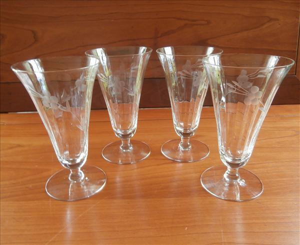 Footed Tumblers Engraved Etched Glass Vintage Optic Rib 1910s to 1930s