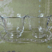 Candlewick Imperial Glass Creamer Sugar On Tray Small