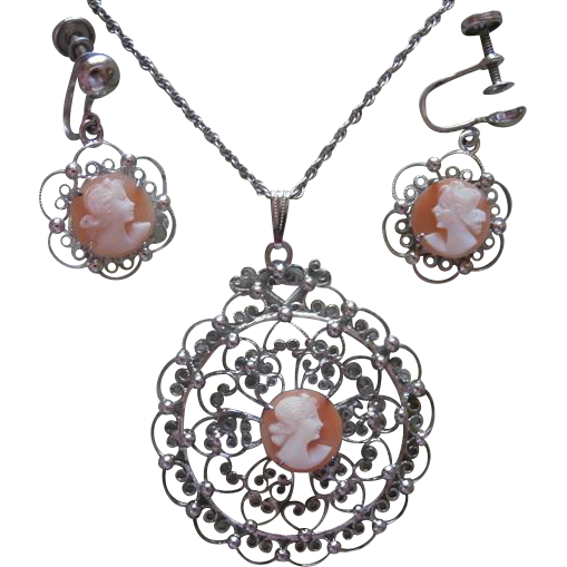 Cameo Sterling Silver Filigree Necklace Drop Earrings Vintage Set