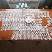 Set 3 Runners 3 Doilies Crocheted Lace Vintage