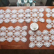 Crocheted Lace Runners Tray Cloth Doilies Set Vintage 6 Pieces