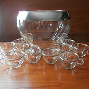 SOLD Silver Bands Glass Punch Bowl 12 Cups Set Vintage  Dorothy Thorpe 1950s