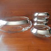 SOLD Silver Bands Vintage  Dorothy Thorpe 1950s Salad Bowl Set Serving Bowls