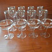 SOLD Silver Bands Vintage Dorothy Thorpe 1950s Stemware 12 Iced Tea Wine Cocktail Glasses