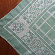 SOLD 1920s Tablecloth Vintage Jadeite Green White Linen Cotton Blend Damask