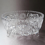 Ferner Bowl Pressed and Wheel Cut Antique Glass 1910s Footed