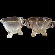 Heisey Sahara Empress Creamer Open Sugar Bowl Vintage Yellow Glass