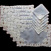 Placemats Napkins Set Vintage 1950s Tape Lace Belgian Linen Battenburg