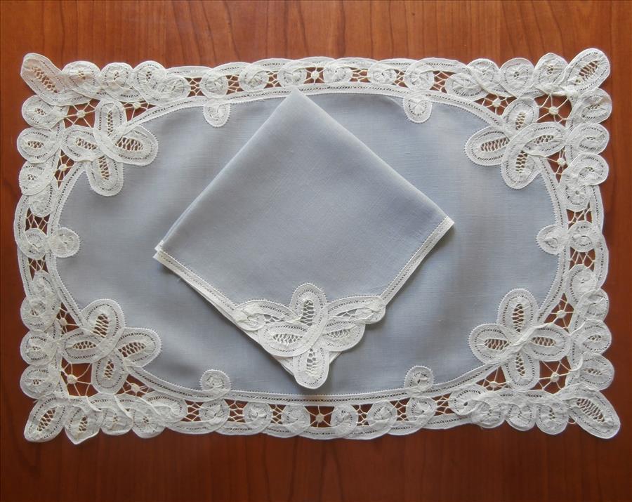 Placemats Napkins Set Vintage 1950s Tape Lace Belgian