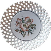 SOLD Antique Milk Glass Bowl Wild Roses Challinor Lattice Late Victorian