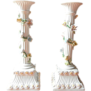 Italian Candlesticks Vintage Pottery Tall Pastel Applied Flowers